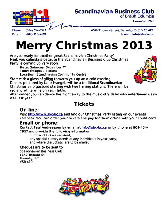 Scandinavian Christmas Party 2013 Poster