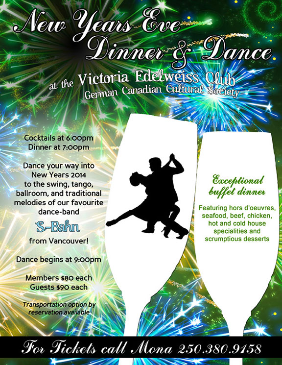 New Year's Eve Party Victoria Edelweiss Club Poster