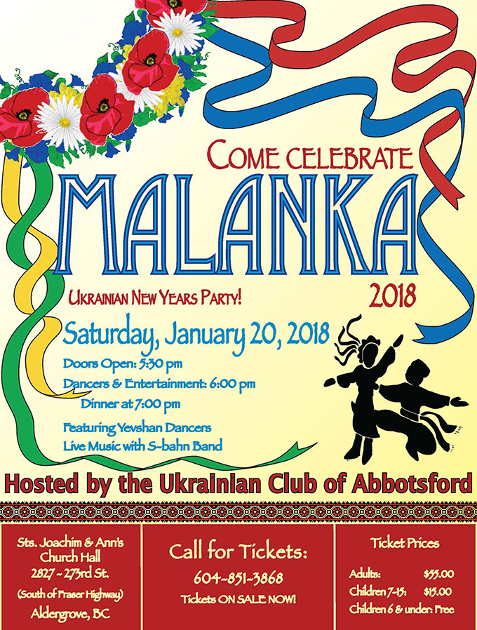 Ukrainian Club of Abbotsford Malanka Ukrainian New Years 2018 Poster